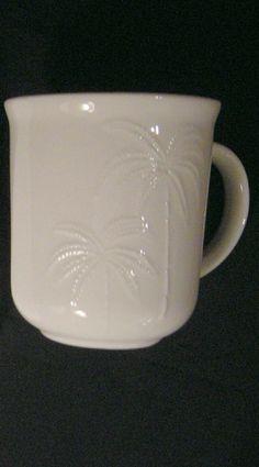 "Oneida ""Palms"" Pattern White Replacement 4"" Coffee Cup Mug w/ Handle Dinnerware #ONEIDA"