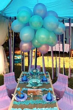 Mermaid Party Love the balloon chandelier