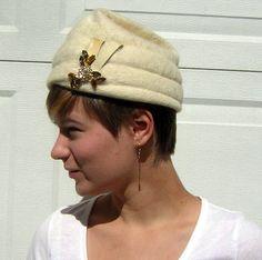 Vintage 60s Hat Angora & Mohair Cream Toque by DecadencePast