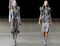 Alexander McQueen Collection | Alexander McQueen Grey Dresses - 2011-2012 Fall-Winter Collection