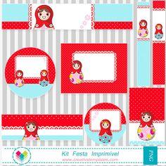 Kit Festa imprimir Matrioskas mod:450 - Meninas | Creativstemplates