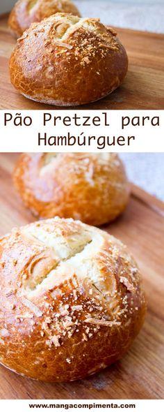 Pão Pretzel para Hambúrguer, faça um delicioso lanche com esse pão. #receita #comida #lanche #pão