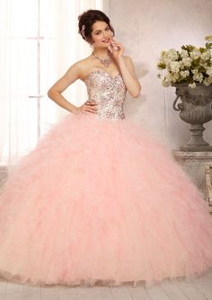 Multi-Colored All Over Beaded Bodice on a Ruffled Tulle Skirt Quinceanera Dress