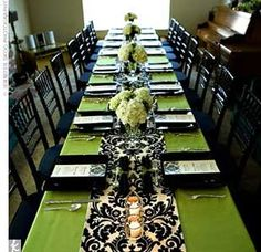 (Purple table clothe instead of green 4 center pieces for flowers same runner )Adding a table runner to accentuate the center pieces is a good idea. A black-and-white damask-print table runner brought a touch of glam to the simple green tablecloth. Lime Green Weddings, Green Tablecloth, 60th Birthday Party, Birthday Ideas, Mom Birthday, Birthday Celebration, Wedding Blog, Wedding Ideas, Wedding Stuff