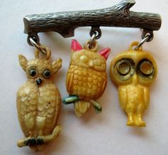 VINTAGE Celluloid OWL Charm BROOCH Metal Tree Branch Pin | eBay $28.00