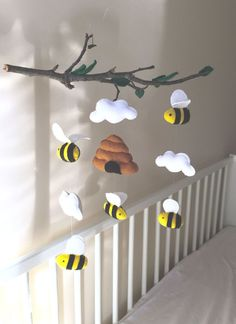 Nice idea to put figures on a branch - Baby Nursery Decor . - Nice idea, figures on a branch – Baby Nursery Decor boy # - Baby Nursery Decor, Baby Decor, Nursery Mobiles, Nursery Crafts, Girl Nursery, Nursery Room, Nursery Ideas, Room Ideas, Baby Crafts