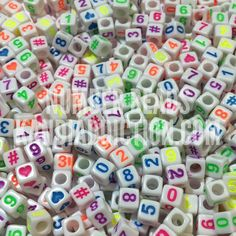 White w/Neon Number Beads