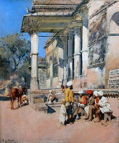 EDWIN LORD WEEKS American, 1849–1903  A Portico in Ahmedabad, India  Signed and inscribed E.L. Weeks/ Ahmedabad Oil on canvas 21¾ x 18½ inches (55.3 x 46.3 cm) Framed: 31½ x 27½ inches (80 x 70 cm)