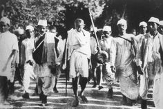 Mohandas Gandhi on the Salt March in 1930. He walked from 240 miles to the sea coast to produce salt without paying the British colonial tax.