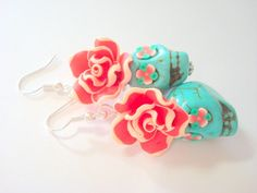 Turquoise, Red, and White Day of the Dead Floral Sugar Skull Earrings by PennysLane on Etsy
