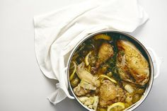 Broth-Braised Chicken With Olives, Artichoke + Lemon