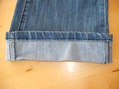 ourlet de jean avec la même couture d'ourlet, en français