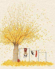Illustration of S. Love Illustration, Autumn Art, Whimsical Art, Graphic, Cute Drawings, Cute Art, Painting & Drawing, Illustrators, Watercolor Paintings