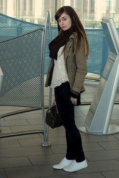 En Route - H jacket, Aritzia blouse, Mavi jeans, American Apparel scarf, Joe Fresh runners, Louis Vuitton purse