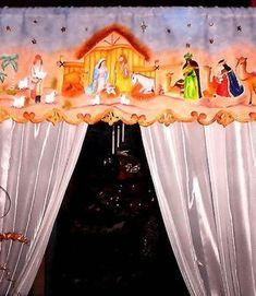 Cenefa navideña, Tecnica: Pintura sobre tela. Diy Craft Projects, Diy Crafts, Christmas Crafts, Merry Christmas, Christmas Windows, Xmas Decorations, Nativity, Lily, Home Decor