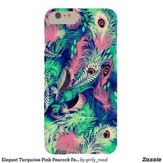 Elegant Turquoise Pink Peacock Feathers Pattern Barely There iPhone 6 Plus Case