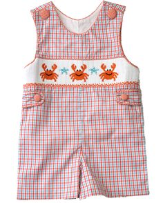 Smocked crab Jon Jon with snap closure. Perfect for beach pictures! Smocked Clothing, Jon Jon, Banana Split, Baby Girl Dresses, Beach Pictures, Beach Trip, Little Boys, Smocking, Spring Outfits