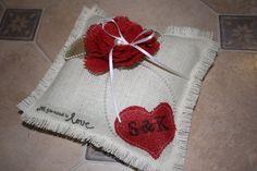 Personalised Burlap/hessian Ring Pillow by RuebenandRose on Etsy, $40.00