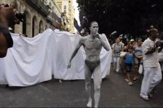 ART: 2012 Havana Biennial: 'Las Cabezas': Manuel Mendive's 100 bare-naked ladies by CubaAbsolutely@gmail.com. Perhaps it was not quite 100 bare naked ladies but the parade down Prado of naked bodies painted by artist Manuel Mendive was a great way to kick off Havana's 11th Art Biennale which has sought to integrate the art with the streets…and there is nothing like naked flesh to bring out the crowds in Havana…