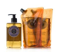 201164 - L'Occitane 3 Piece Liquid Soap & Refills QVC Price: £37.52 + P&P: £4.95 or 4 Easy Pays of £9.38 +P&P in 2 of 3 options  This three-piece handwash set from L'Occitane comprises a large pump bottle of detergent-free cleanser and two eco-refills to ensure you always have stock of your favourite liquid soap. Cleanse your skin and leave it feeling soft and delicately scented with this L'Occitane trio.