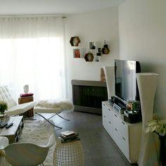 White living room decor wall storage