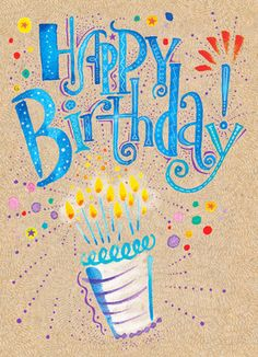 Vibrant Birthday Cake Birthday Card