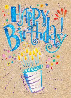 Vibrant Birthday Cake Birthday Card