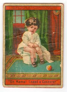 Animated Cascaret Laxative Constipated Child Gets Relief Chamber Pot Trade Card