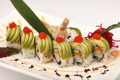 Simple yet executed to perfection Dragon Roll, Sushi, Rolls, Simple, Ethnic Recipes, Food, Bread Rolls, Essen, Yemek