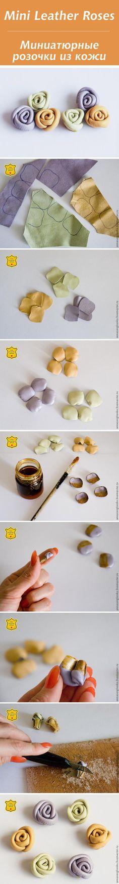 Миниатюрные розочки из кожи / Mini Leather Roses #leather #tutorial