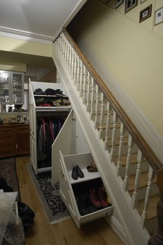 Closet Under Stairs Design Ideas, Pictures, Remodel, and Decor Staircase Storage, Stair Storage, Hidden Storage, Closet Storage, Secret Storage, Stair Drawers, Closet Drawers, Extra Storage, Basement Storage