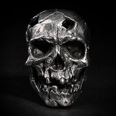 "# ring This is ""Damaged"" a skull ring based on lead free pewter that made by Fourspeed Metalwerks, a top class brand that have worked with well-known musicians, artists and professional athletes. Skull Jewelry, Gothic Jewelry, Jewellery, Mens Skull Rings, Skull Crafts, Biker Rings, Gold Art, Grim Reaper, Skull And Bones"