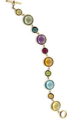 'Mischief'  Single line 14mm and 8mm Multi Color Disc Bracelet in 18KY with plain toggle clasp Amethyst, Blue Topaz, Prasiolite, Lemon Quartz, Rubellite, Peridot