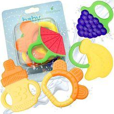 Baby Teething Toys - BPA Free Natural Organic Freezer Safe Teether Set for 3 to 12 Months Babies, Infants, Toddlers by Ashtonbee (5 Pack) - http://parenting.mugamboglobalresources.com/baby-teething-toys-bpa-free-natural-organic-freezer-safe-teether-set-for-3-to-12-months-babies-infants-toddlers-by-ashtonbee-5-pack/