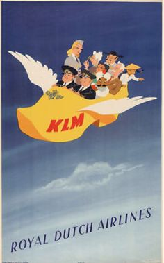 Playing to our prejudices in the 1950's- I couldn't imagine the Dutch using such an image to promote themselves today. Times DO change. KLM - Royal Dutch Airlines, Flying Clog. Tom Koebel. Luxury Voyages. 800-598-0595