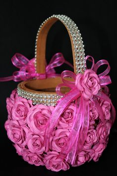 Hot pink flower girl basket with lots of bling a hot pink handmade pink romantic fuchsia flower girl basket by ceremonydeluxe on etsy mightylinksfo Images