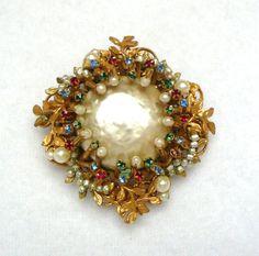 Miriam Haskell Signed Baroque Pearl, Seedpearl, Multicolor Gem Brooch on Etsy