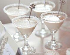 REVEL: Winter White Cocktails 2 oz vanilla vodka 1/2 oz white creme de cacao 1 oz Godiva white chocolate liqueur dark or white chocolate shavings for rimming