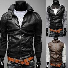 Sale 15% (32.55$) - Mens PU Leather Hooded Knitted Long Sleeve Casual  Jacket