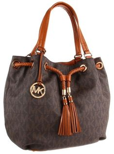 $298, Dark Brown Print Leather Tote Bag: MICHAEL Michael Kors Michl Michl Kors Jet Set Large Gathered Tote. Sold by Zappos. Click for more info: http://lookastic.com/women/shop_items/30794/redirect
