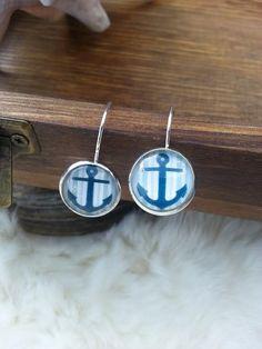 Nautical Earrings, Anchor Earrings, Silver Dangle Earrings, Beach Jewelry ~ Sale Expires Today