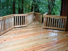 Winston Salem NC beautiful wooden deck and rail that was custom designed and built for these homeowners.