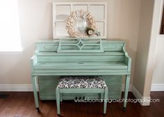 Painted Piano | Bloom and Grow Photography... Maybe yellow instead? Add a more colorful upholstery fabric on the bench and crystal pulls on the key cover.