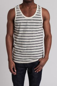 Grey stripe tank   nice arms !!!