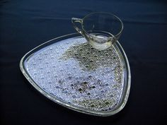 Indiana Colony Glass Clear Daisy & Button Snack Luncheon Plate & Cup Set #IndianaGlass