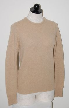 St Michael Made in UK 100% Cashmere Woman's Beige Crewneck Sweater M #StMichael #Crewneck
