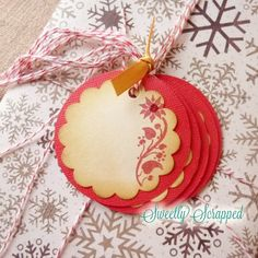 Poinsettia Tags Christmas Tags Glittered Red by SweetlyScrappedArt