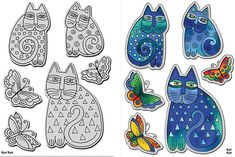 Laurel Burch Indigo Cats Stamp & Die Set by Stampendous (5000580)