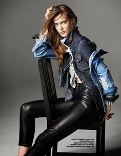 """Better quality """"The Girl In Denim"""" for Harper's Bazaar China March 2015 Photographer: Dan Smith Stylist: Ina Lekiewicz Hair: Peter Lux at Frank Agency Make-up: Kim Brown at Premier Hair & Make-upTess Hellfeuer - Page 14 - the Fashion Spot Denim Fashion, Leather Fashion, Fashion Models, Womens Fashion, Denim Editorial, Editorial Fashion, Photography Poses, Fashion Photography, Military Chic"""