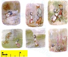 "DOLLSHOUSE Miniature Beatrix Potter Jemima Puddle-Duck Print Set - CDHM   Set of six beautiful vintage prints based on the work of Beatrix Potter. Carefully reproduced & digitally enhanced by a ""Custom Dolls, Houses & Miniatures"" artisan. The prints are presented on high quality premium materials in a choice of either gloss or soft-gloss finish. Sizes range approximately 1 1/2  inch x 1 1/2 inch"